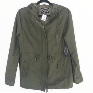 AMBIANCE Olive Green Hooded Jacket with Drawstring